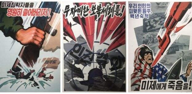 在朝鲜首都和其他城市宣称美国是一个严重的帝国主义侵略者,并促进与韩国和日本等国家的联系,以分发传播朝鲜的图像。
