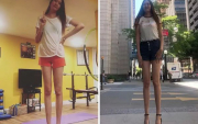 Mongolian model with the world's second-longest pair of legs