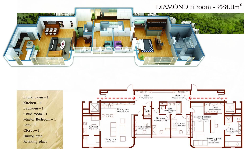 Diamond ангиалалын 223мкв талбайтай 5 өрөө орон сууцны зохион байгуулалт