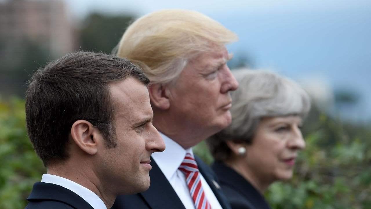 наад талаас Францын Ерөнхийлөгч Эммануэл Макрон, АНУ-ын Ерөнхийлөгч Дональд Трамп, Их Британийн Ерөнхий сайд Тереза Мей