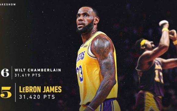 """""""Хаан"""" Жеймс НБА-н оноо авалтаар бүх цаг үеийн 5-д орж ирэв"""