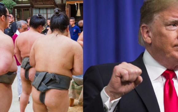 Япон бөх Дональд Трампын гараас цом авна