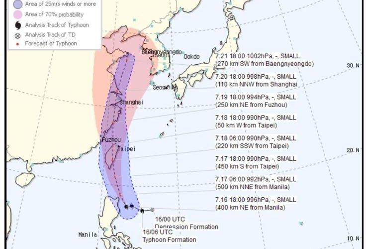 Солонгосын хойгийг далайн шуурга дайрна