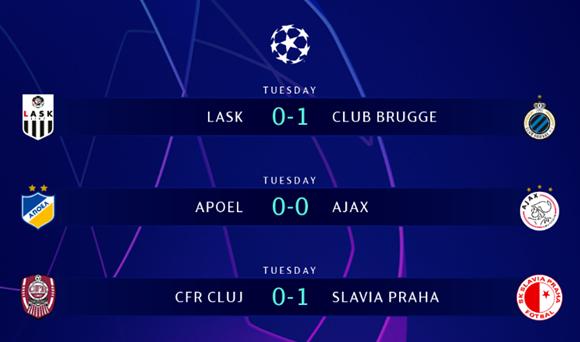 Чехийн Славиа Прага, Бельгийн Брюгге клубууд эхний тоглолтод ялалт байгуулав