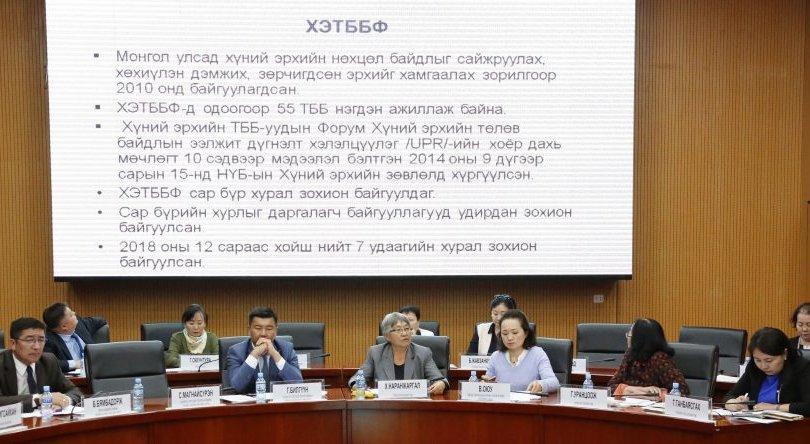 Хүний эрхийн төлөв байдлын тайлан танилцуулах зөвлөлдөх уулзалт болов