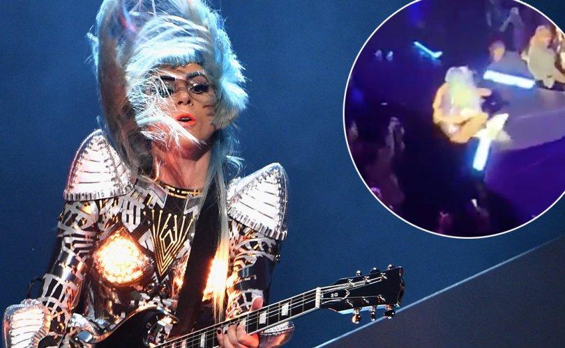 Лэди  Гага тайзнаас унаж, бэртжээ