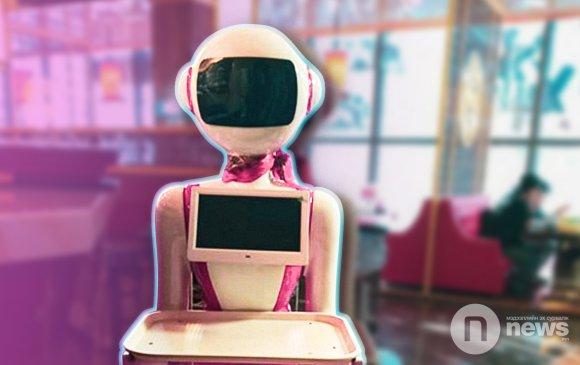 Хүзүүндээ гоёмсог улаан алчууртай зөөгч робот