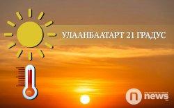 Улаанбаатарт 21 градус дулаан байна
