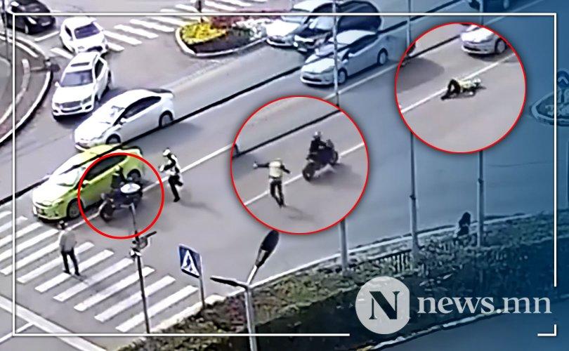 Мотоциклтой этгээд замын цагдаа дайрч, хөлийг нь хугалжээ