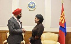 Монгол-Энэтхэгийн парламентын бүлгийн дарга Б.Саранчимэг элчин сайд М.П.Сингхтэй уулзлаа
