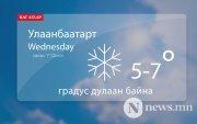 Улаанбаатарт хур тунадастай, 5-7 градус дулаан байна