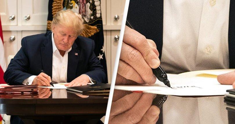 Трамп хоосон цаасан дээр гарын үсэг зураад шүүмжлүүлэв