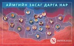 Нийслэлийн есөн дүүрэг, 18 аймгийн Засаг дарга томилогджээ