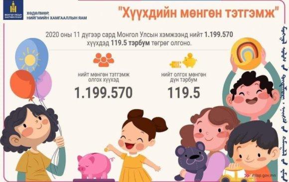 Хүүхдийн мөнгө, тэтгэмж, халамж, хүнсний хангамж олгосон байдал