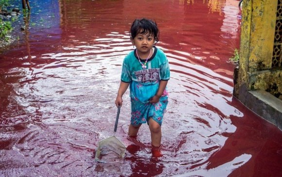 Индонезийн тосгон улаан үерт автжээ