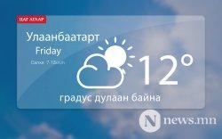 Улаанбаатарт 12 градус дулаан байна