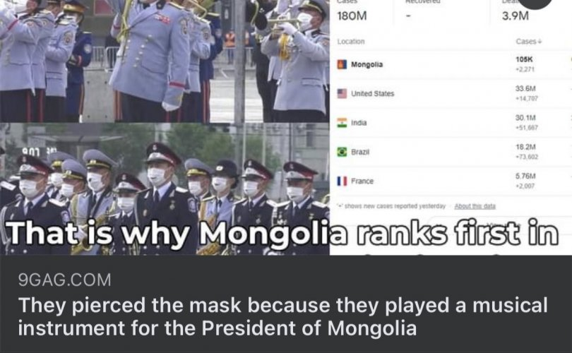 Маскаа цоолж бүрээ үлээсэн монголчуудыг шоолжээ