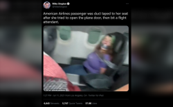 Онгоцны хаалга онгойлгох гэсэн эмэгтэйг сандалтай нь хүлэв