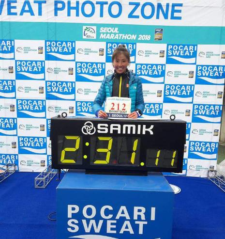 Марафонч Б.Мөнхзаяа улсын рекордыг шинэчлэн тогтоов